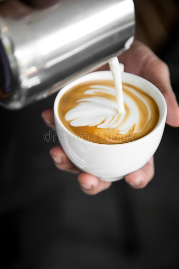 Latte In White Ceramic Cup royalty free stock photo