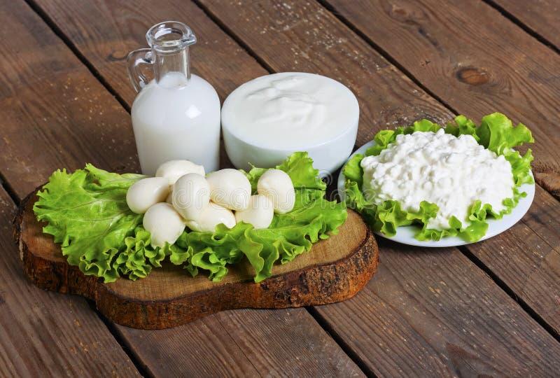 Latte, yogurt, mozzarella e formaggio con fondo fotografie stock