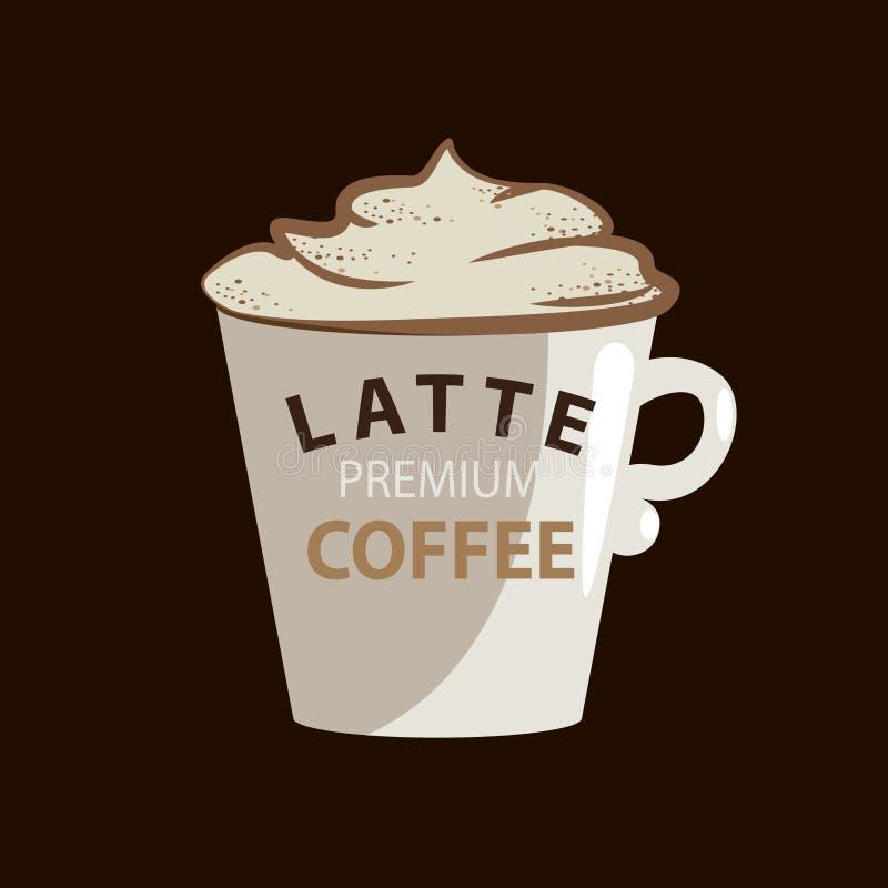 LatteKaffeetasse in der Typografiehippie-Art mit Sahne und in den Zimtillustrationen Emblem oder Logo Taube als Symbol der Liebe, vektor abbildung