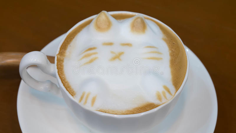 Lattekonstkaffe som design för katt 3D arkivbilder