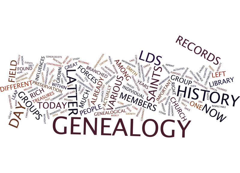 Latter Day Saint Genealogy Text Background Word Cloud Concept royalty free stock photos