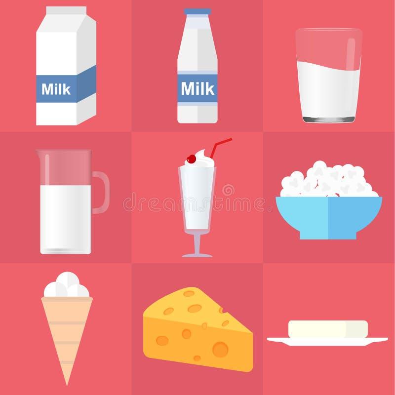 latteria Latte, formaggio, burro, ricotta, yogurt, gelato royalty illustrazione gratis