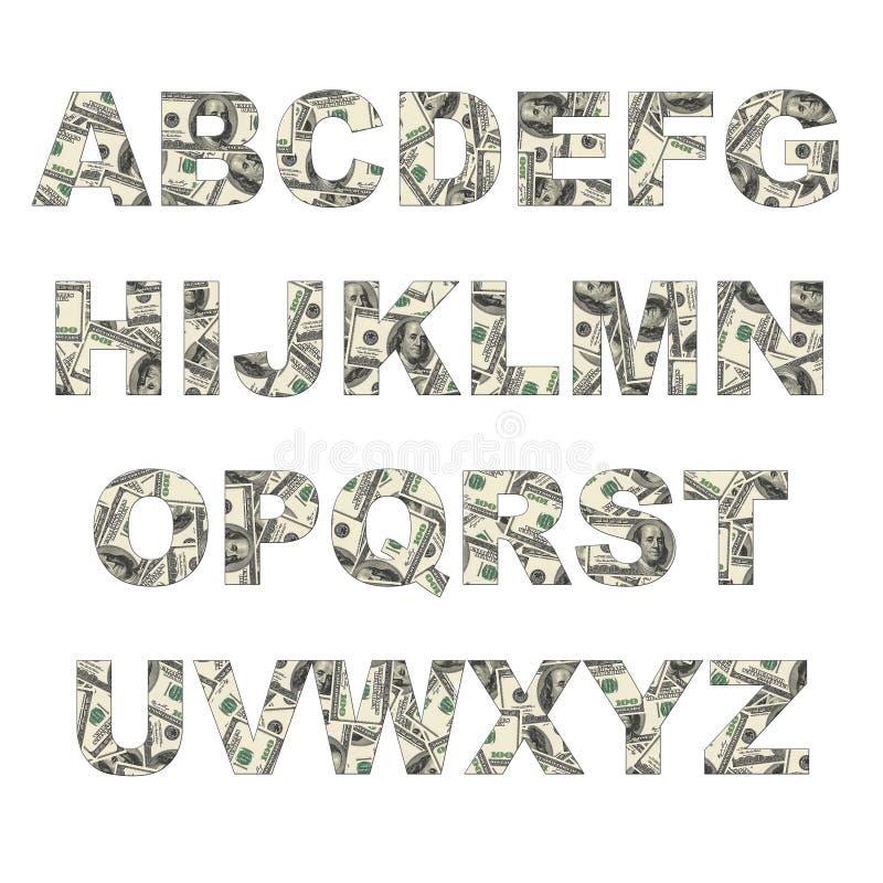 Latters алфавита сделанные долларов иллюстрация штока