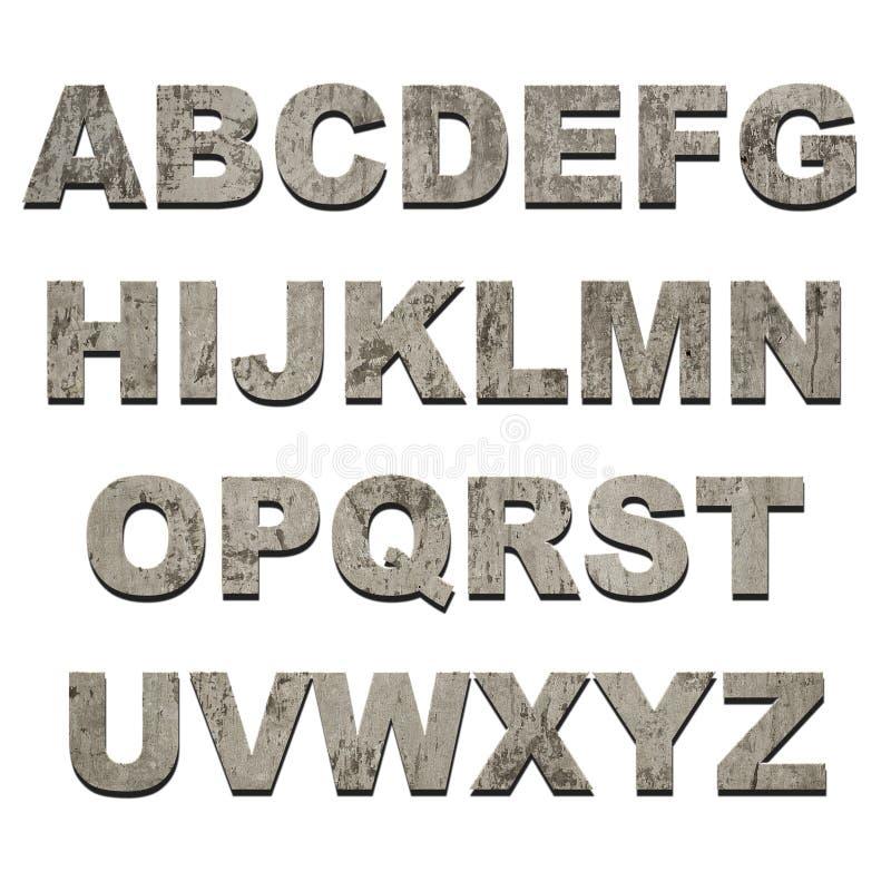 Latters van alfabet op grungetextuur stock illustratie