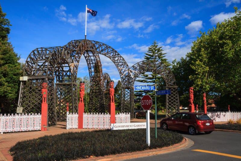 Entrance to Government Gardens, Rotorua, New Zealand stock photo