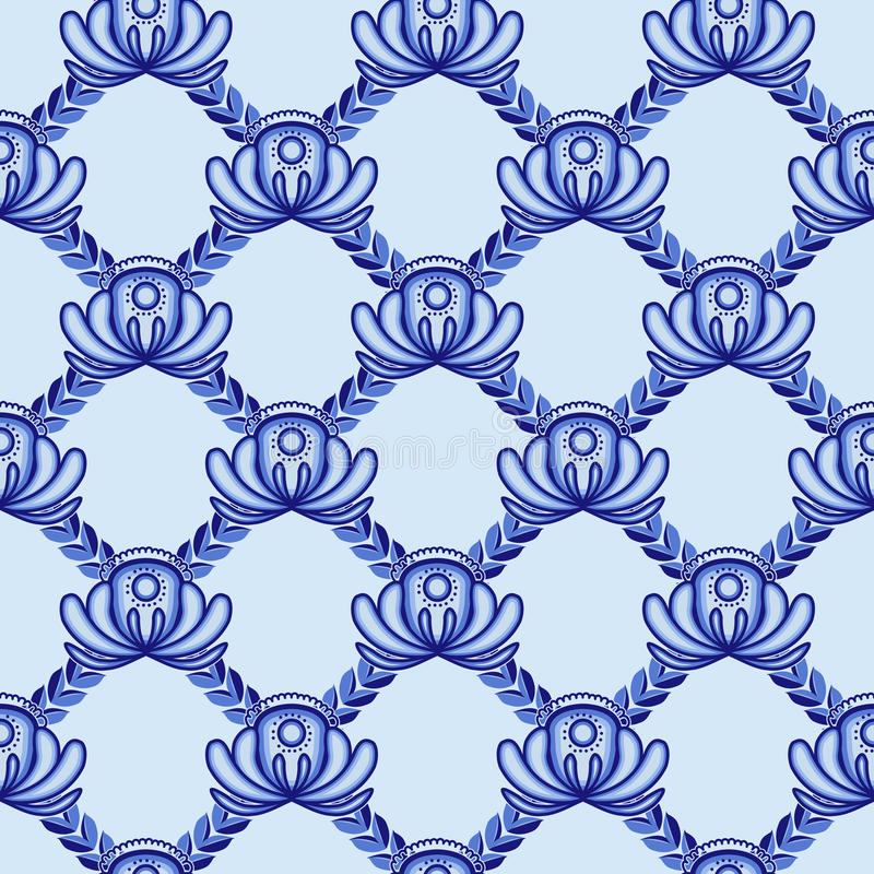 Lattice from blue flowers and leaves. A seamless pattern in the Gzhel style. royalty free illustration