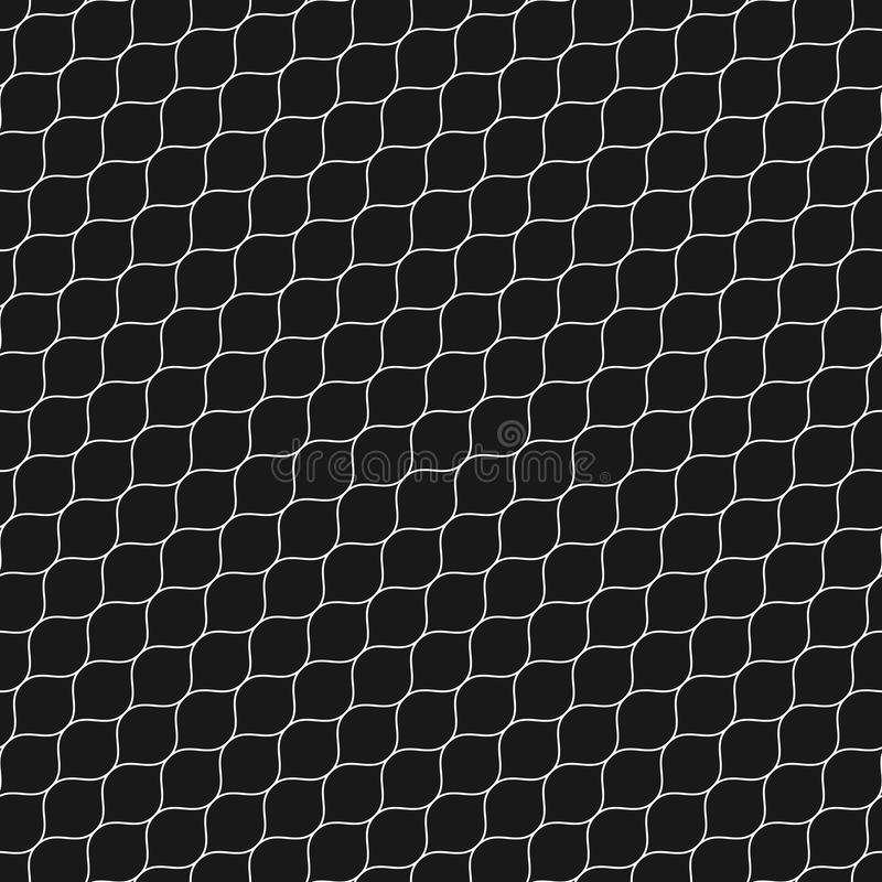 Lattice pattern, thin diagonal wavy lines, black mesh texture. Vector seamless pattern, thin diagonal wavy lines. Subtle texture of mesh, fishnet, lace, weaving royalty free illustration