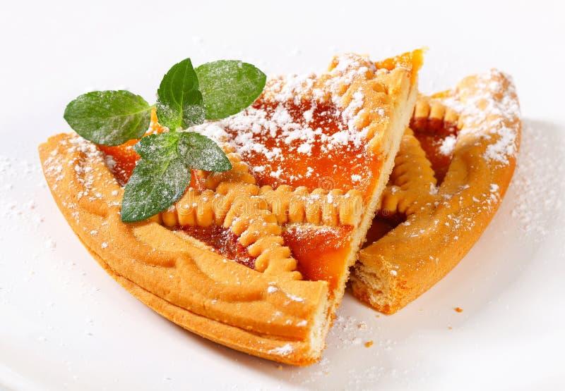 Lattice topped apricot tart stock photo