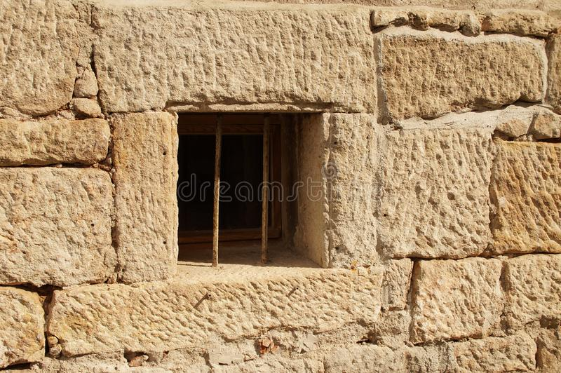 Latticed basement window of an old half-timbered house royalty free stock photos