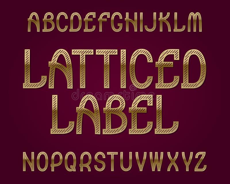 Latticed etikettstilsort guld- stilsort Isolerat engelskt alfabet vektor illustrationer