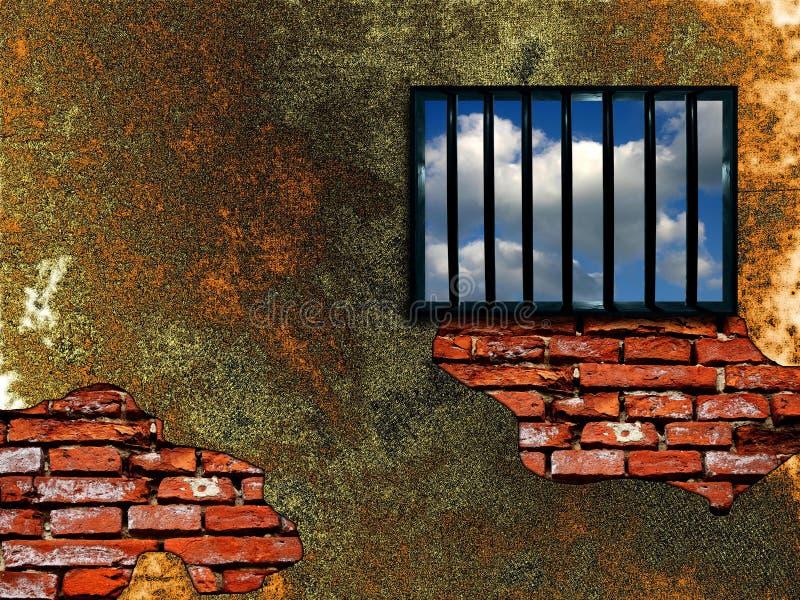 latticed fängelsefönster stock illustrationer