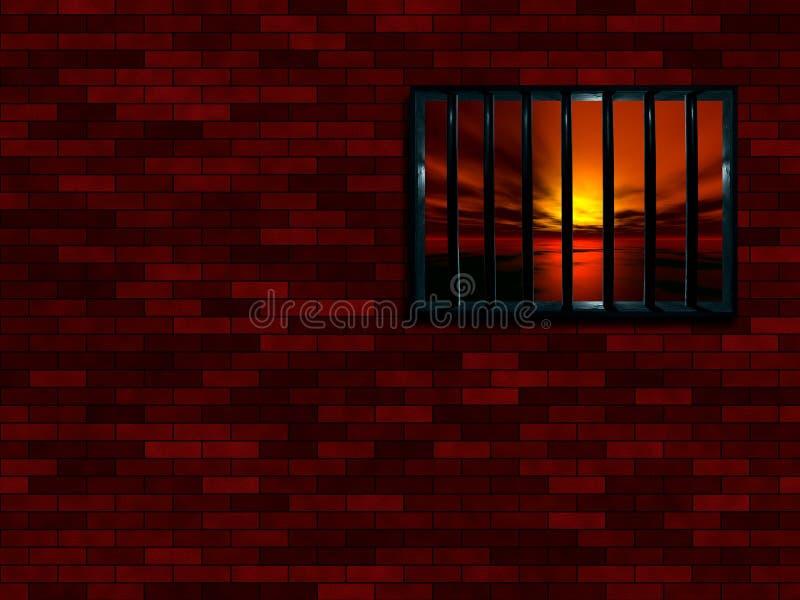 Latticed prison window stock illustration