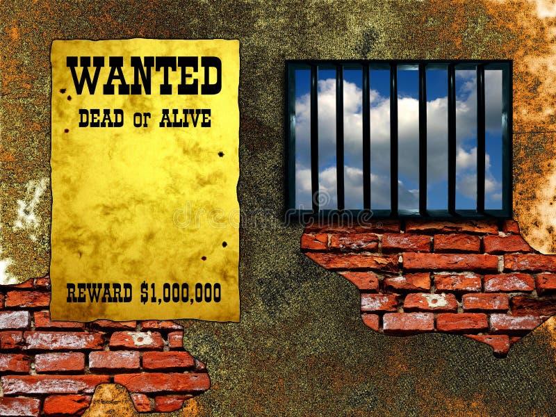 Latticed prison window vector illustration