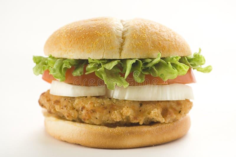 Lattuga croccante del formaggio della cipolla del pomodoro dell'hamburger del pollo fotografia stock libera da diritti