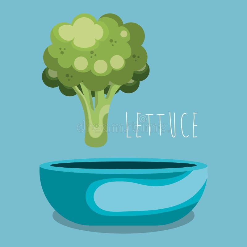 Lattuga fresca in alimento del vegetariano della ciotola illustrazione di stock