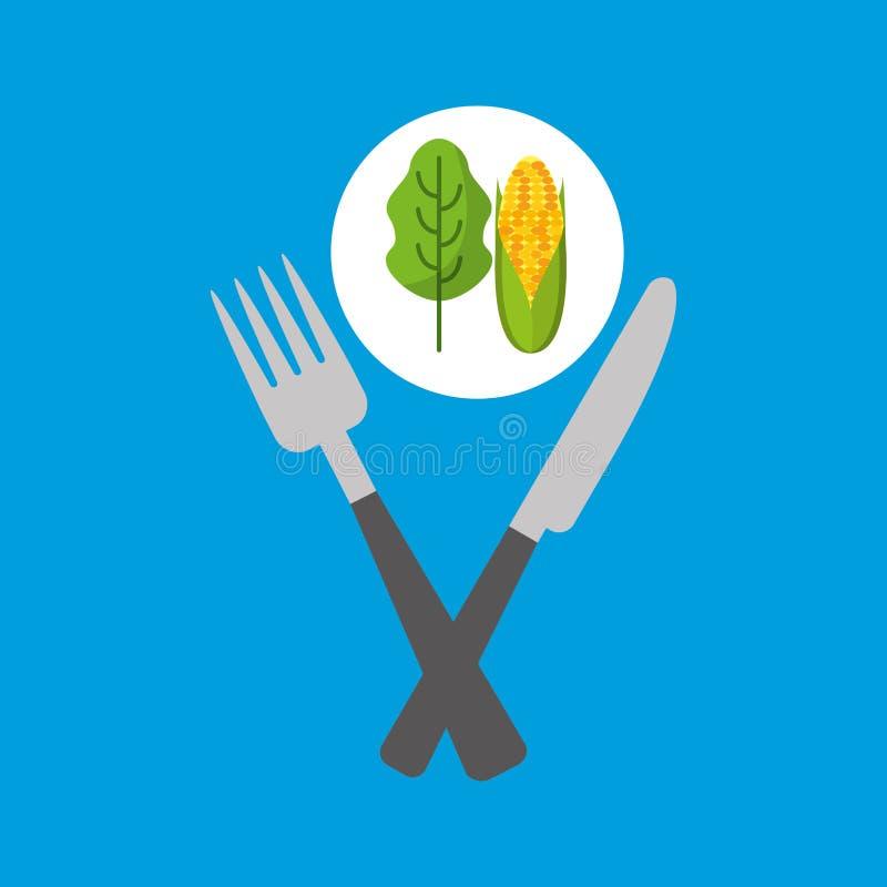 Lattuga fresca di cibo con la pannocchia illustrazione di stock