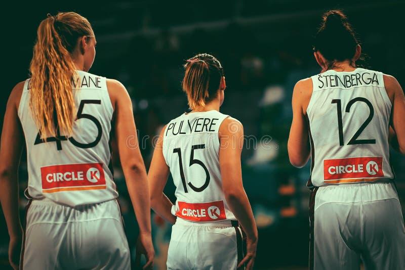 Latvia basketball players during basketball world cup 2018 royalty free stock photo