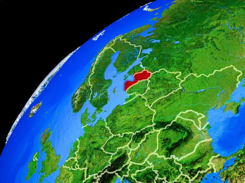 Latvia on Earth from space. Latvia from space. Planet Earth with country borders and extremely high detail of planet surface. 3D illustration. Elements of this stock image