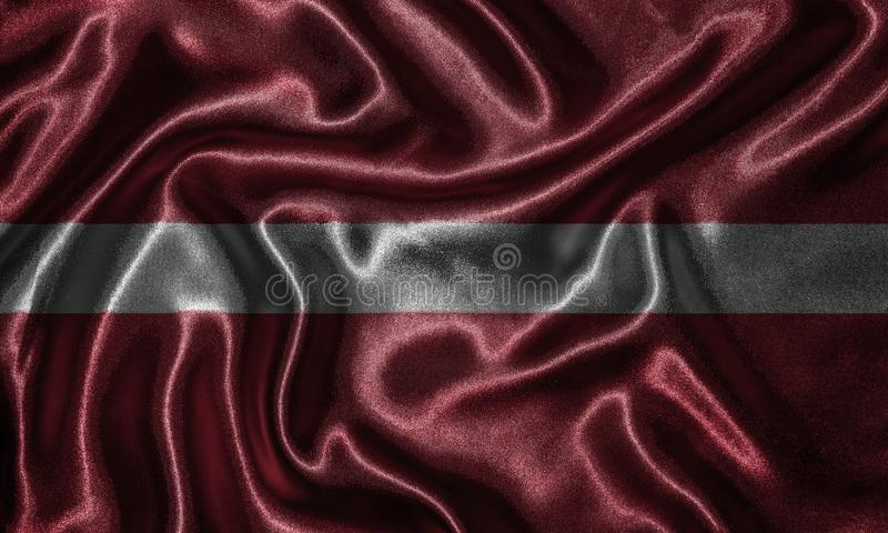 Wallpaper by Latvia flag and waving flag by fabric. Latvia flag - Fabric flag of Latvia country, Background and wallpaper of waving flag by textile royalty free stock images