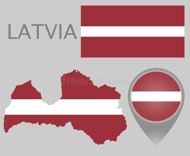 Latvia flaga, mapa i mapa pointer, royalty ilustracja