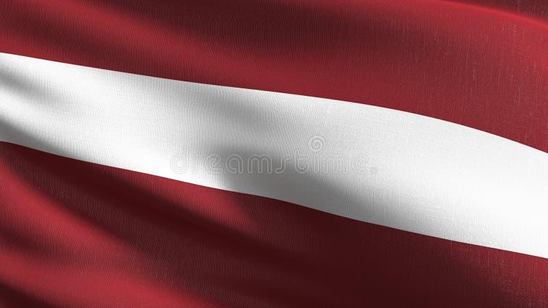 Latvia flagi państowowej dmuchanie w wiatrze odizolowywającym Oficjalny patriotyczny abstrakcjonistyczny projekt 3D renderingu il royalty ilustracja