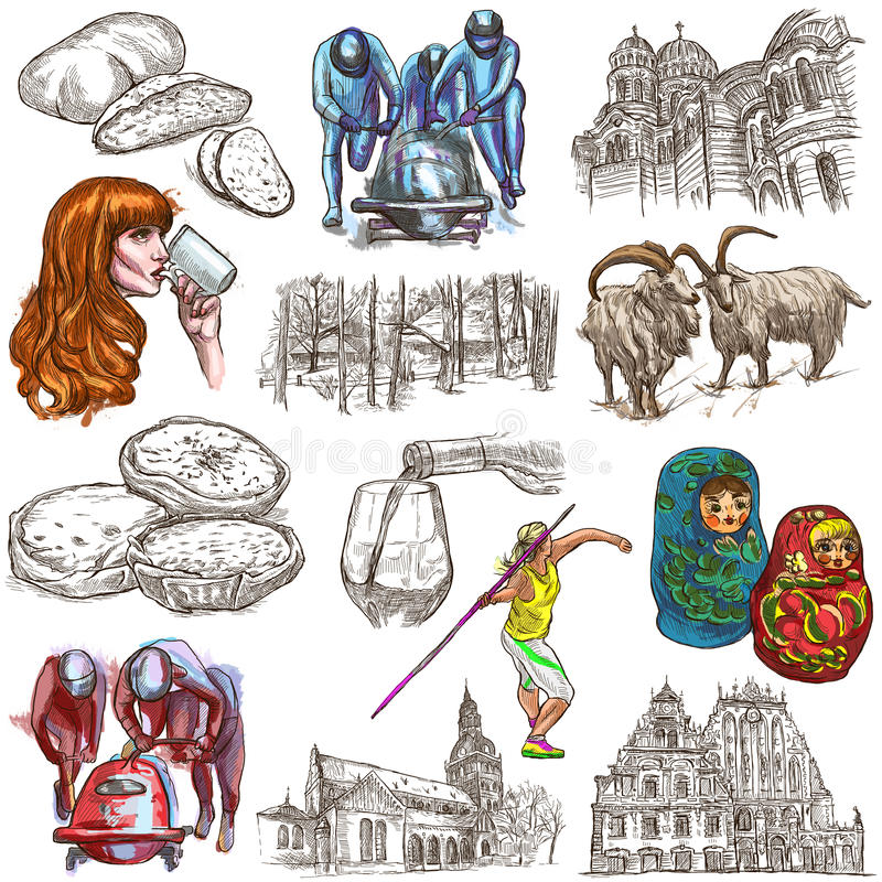Latvia. Freehand. Hand drawn collection. Line art pack. Latvia.Republic of Latvia.Pictures of life and travel collection of an hand drawn illustrations.Pack of vector illustration