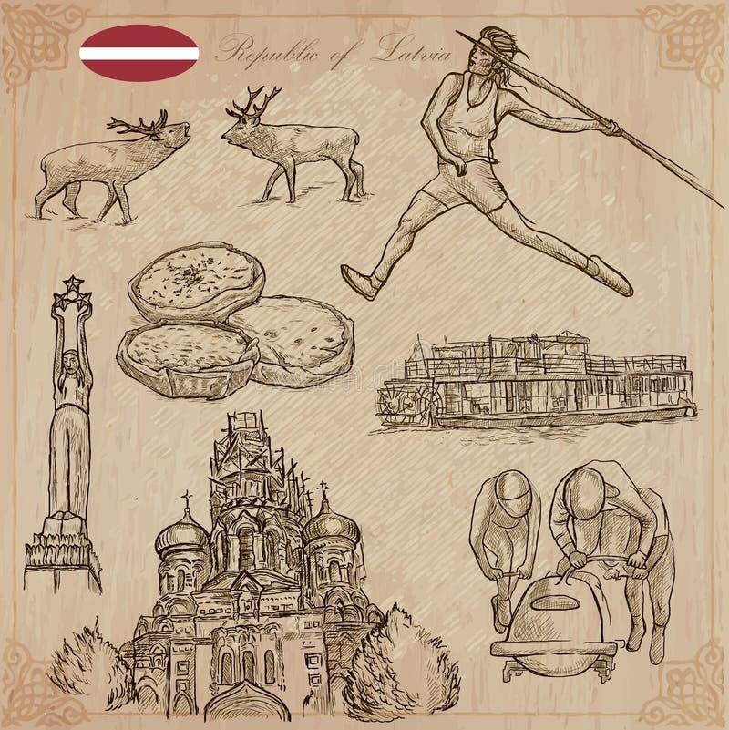 Latvia Freehand wektory Ręka rysująca kolekcja Kreskowa sztuka royalty ilustracja
