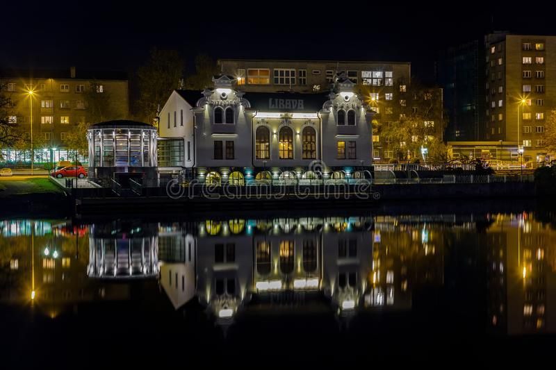 Beautiful buildings over the canal in the evening stock photo