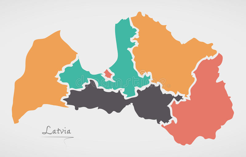 Latvia Map with states and modern round shapes. Illustration vector illustration