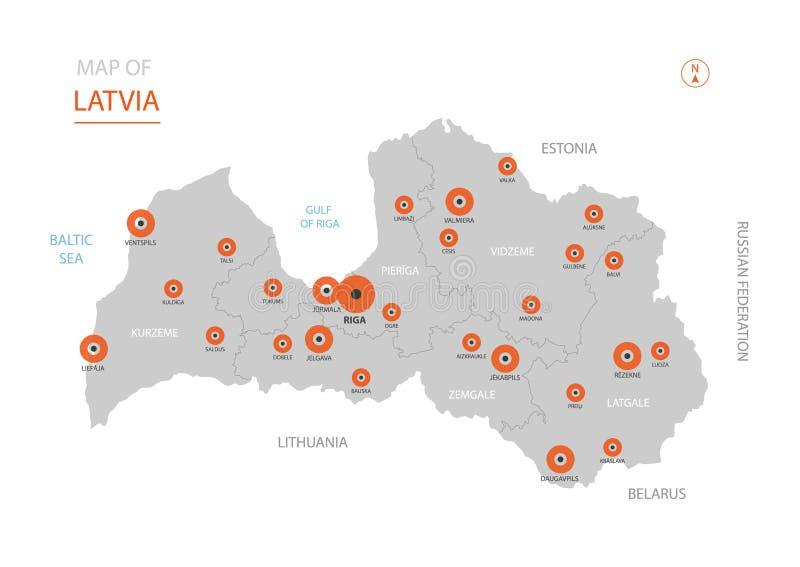 Latvia mapa z administracyjnymi podziałami ilustracja wektor