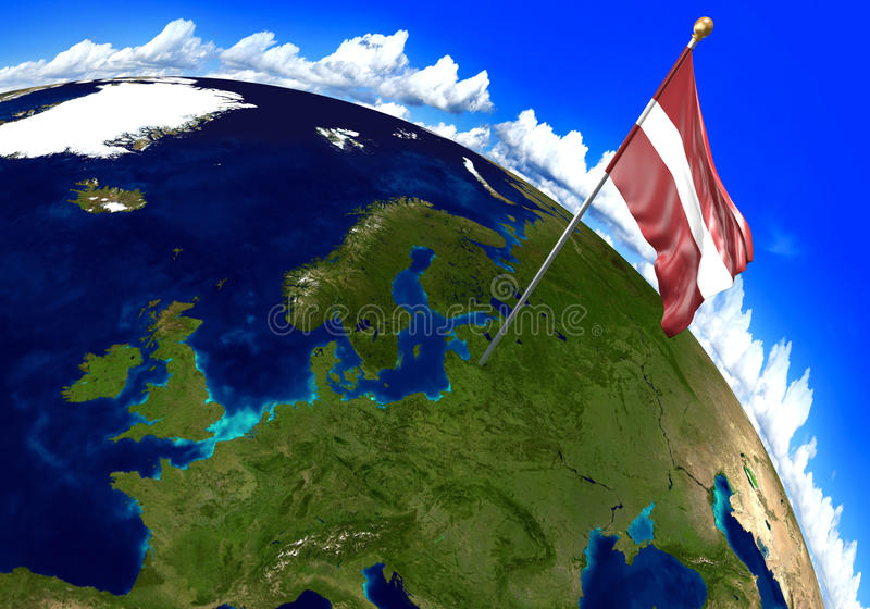Latvia national flag marking the country location on world map. 3D rendering, parts of this image furnished by NASA. 3D render of the national flag of Latvia stock image