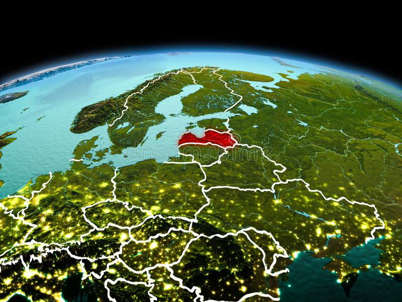 Latvia on planet Earth in space. Morning above Latvia highlighted in red on model of planet Earth in space with visible border lines and city lights. 3D stock photography