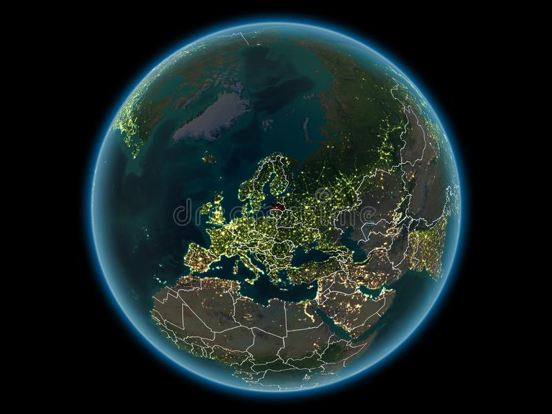 Latvia on planet Earth from space at night. Latvia in red with visible country borders and city lights from space at night. 3D illustration. Elements of this royalty free stock image