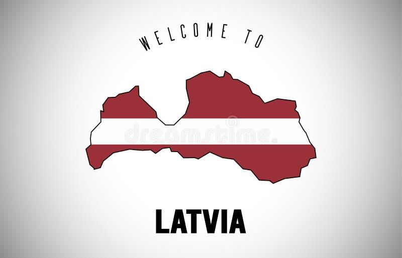 Latvia powitanie teksta i kraju flaga wśrodku kraj granicy mapy Wektorowego projekta ilustracja wektor