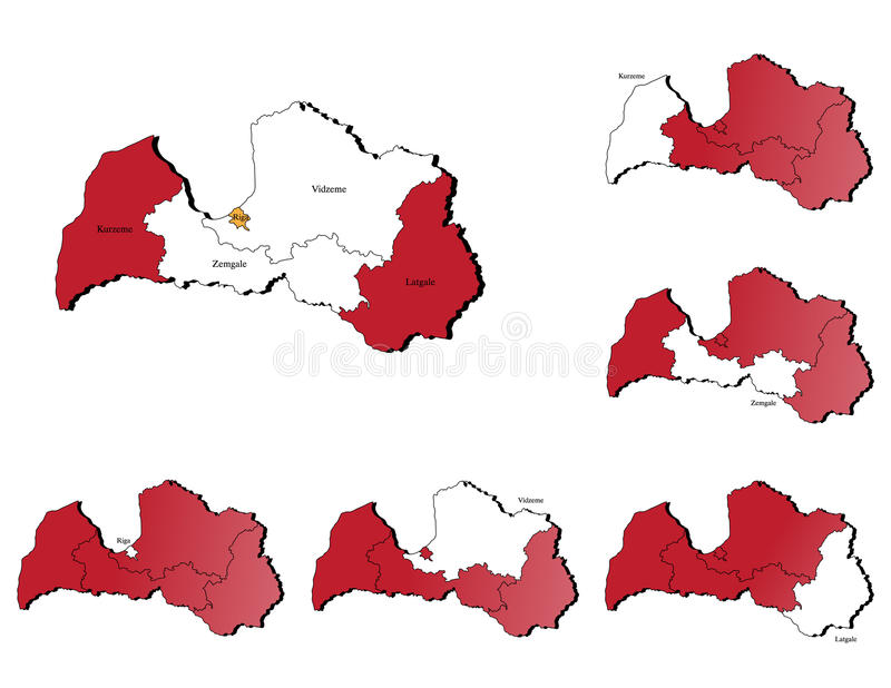 Latvia Provinces Maps Royalty Free Stock Photo