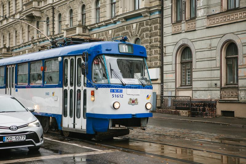 Latvia, Riga, 4 October 2017: Tram public transport on the street. Daily life in the city. Everyday life in Europe royalty free stock image