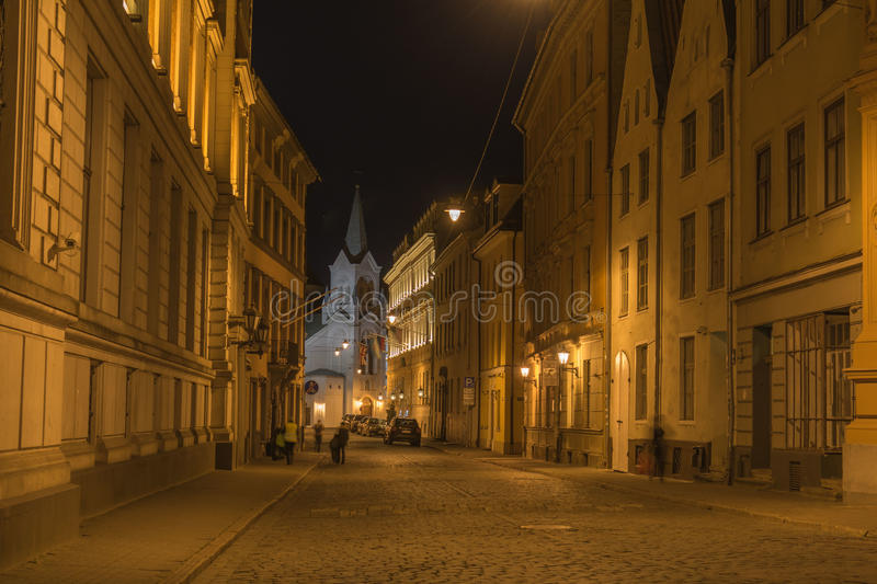 Latvia, Riga. The old town, night stock photography