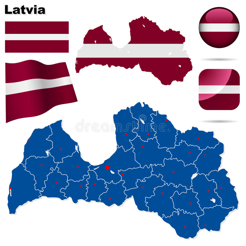 Latvia set. stock illustration