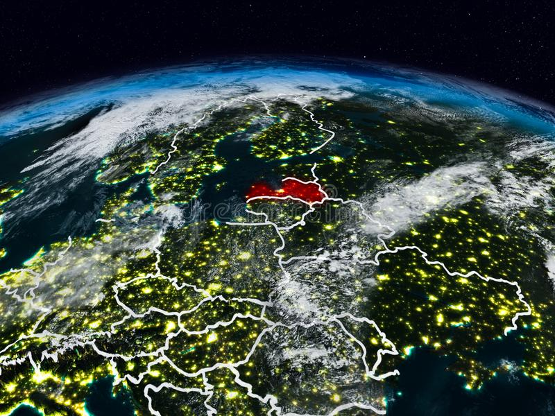 Latvia at night. Latvia from space at night on Earth with visible country borders. 3D illustration. Elements of this image furnished by NASA stock photos