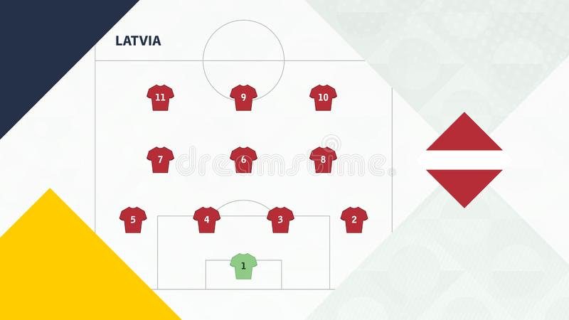 Latvia team preferred system formation 4-3-3, Latvia football team background for European soccer competition.  royalty free illustration