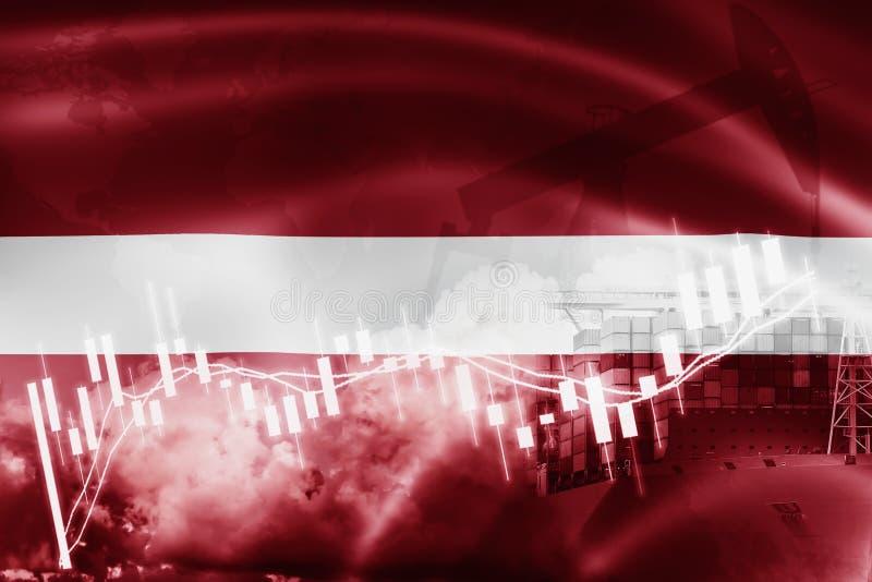 Latvia zaznacza, rynek papierów wartościowych, wekslowa gospodarka i handel, produkcja ropy naftowej, zbiornika statek w biznesie ilustracji