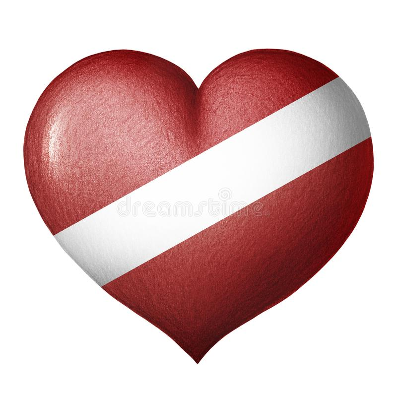 Latvian chorągwiany serce odizolowywający na białym tle tła rysunku ołówka drzewny biel royalty ilustracja