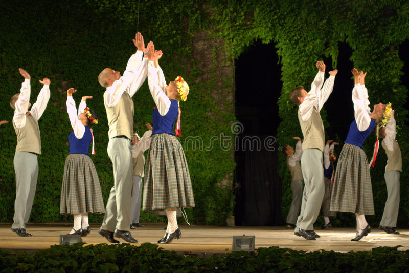 Latvian folk dance performance royalty free stock photo