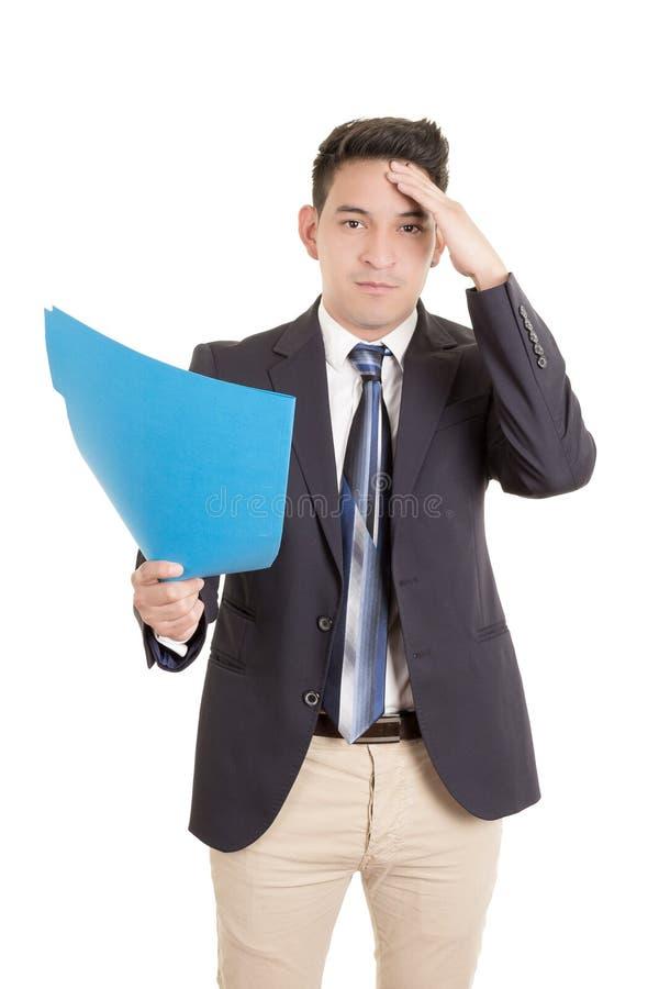 Latynoski biznesmen z falcówką zdjęcia stock