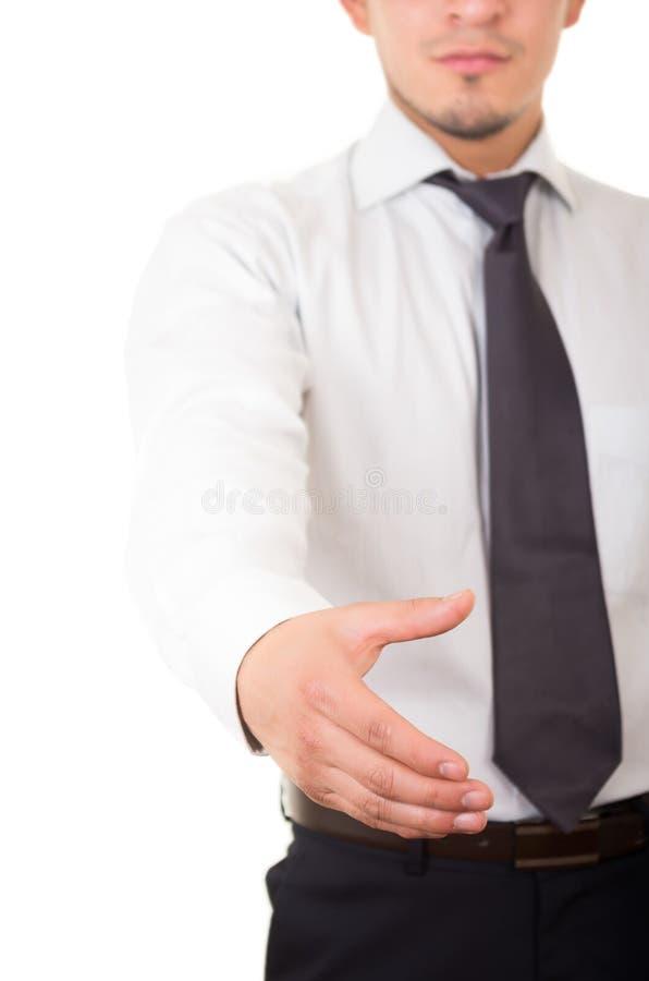 Latynoski biznesowy mężczyzna daje uściskowi dłoni obraz stock