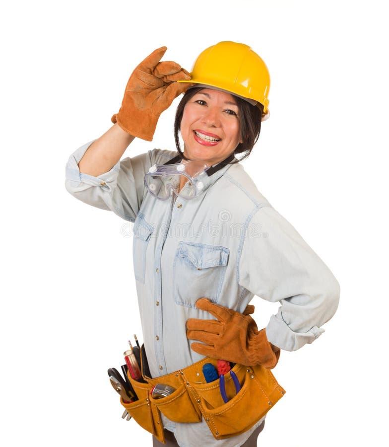 Latynoskie kobiety noszące przeguby, kapelusz i przeguby izolowane na białym tle obraz stock