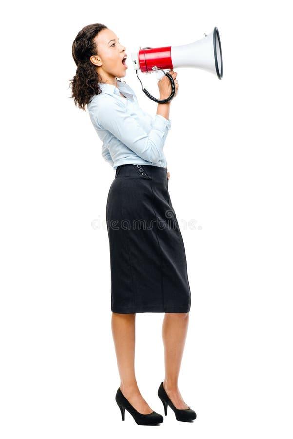 Latynoskiego bizneswomanu megafonu loudspeker rozkrzyczany biel obrazy stock