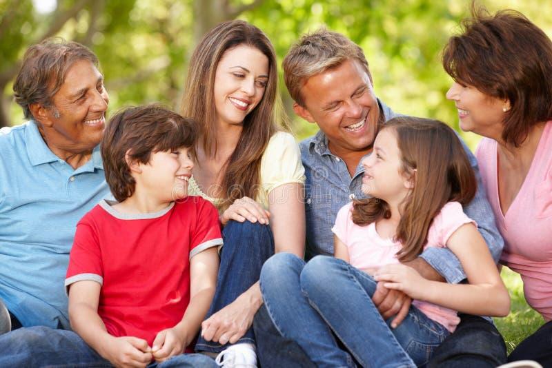 Latynoskiego mulit pokolenia rodzinny obsiadanie w parku zdjęcia royalty free