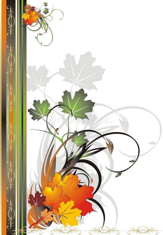 Laub des Ahornholzes. Dekoratives Feld des Herbstes für Karte stock abbildung