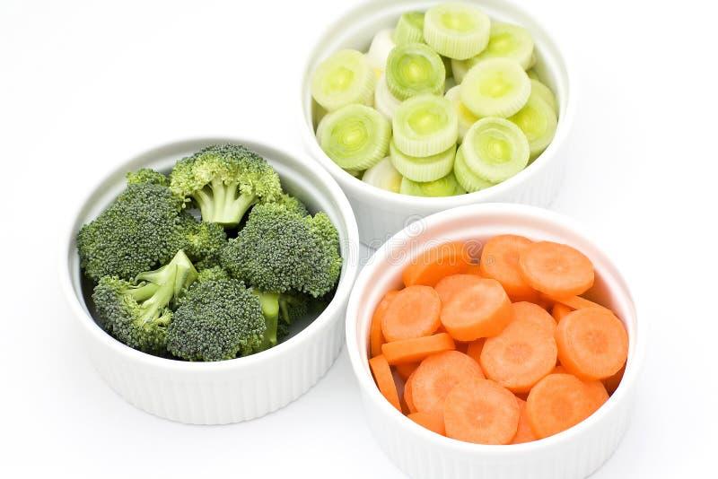 Lauch, Karotten, Brokkoli stockfotos